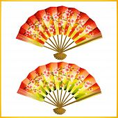 Set Of Japanese Fans Over White