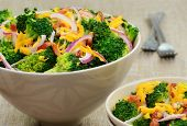 Broccoli Salad With Bacon, Cheese And Red Onion