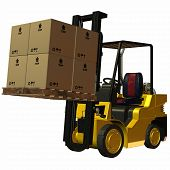 image of fedex  - 3 D Render of an yellow Forklift - JPG