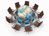 Concept of global business communication. Laptops and armchairs around table with earth. 3d Elements