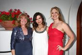 LOS ANGELES - APR 4:  Annie J. Dahlgren, Finola Hughes, Christina Eliason attends the gala fundraiser for the romantic comedy,