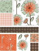 Fresh Spring Floral Vector Seamless Patterns and Elements. Use as fills, digital paper, or print off