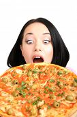 Beautiful girl with great pizza isolated on white