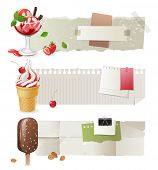 Horizontal paper banners with colorful ice cream