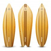 3 highly detailed wooden surf boards