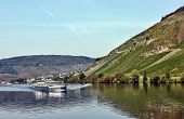 foto of moselle  - The barge on the river Moselle in Germany - JPG