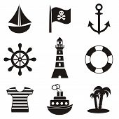 stock photo of pirate flag  - set of black pirates and sailors icons on white background - JPG