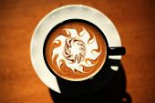 Hot Coffee AKA Latte Art photograhed in a POP ART style. The perfect image for all your Coffee Art r