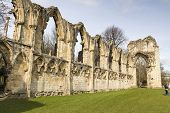 YORK, UK - MARCH 30: Ruins of Saint Mary's Abbey. Its construction started in 1086, and it was taken