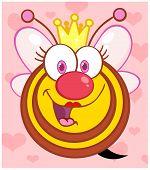 Reina abeja sobre fondo con corazones