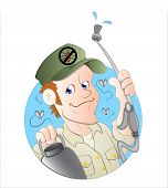 stock photo of pesticide  - Drawing Art of Cartoon Exterminator Man Vector Illustration - JPG