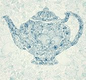 picture of teapot  - Vector beautiful lacy floral teapot for design menu and invitations - JPG