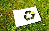 picture of cut torn paper  - Cut paper with the logo of recycling - JPG