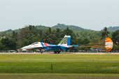 LANGKAWI, MALAYSIA - MAR 26: Russian Air Force Aerobatic Team Russian Knights performing during on L
