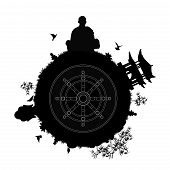 pic of dharma  - black silhouette of a buddhist planet with a monk meditating pagoda buddha head statue stone pyramids lotus flowers bamboos and other plants and a dharma wheel in the center of a planet - JPG