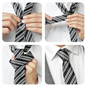 collage of a man knotting his tie in different steps