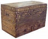 Vintage Wooden Chest Isolated with Clipping Path