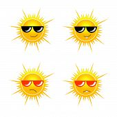 Sun With Sunglass Vector Illustration