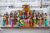 Different Hindu gods sculpted on temple