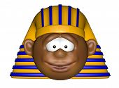 stock photo of pharaohs  - funny cartoon pharaoh head on white background  - JPG