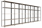 stock photo of shelving unit  - A regular assembled metal warehouse shelving unit on an isolated background - JPG