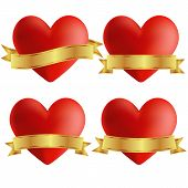 Set Of Heart Icons With Badges, Vector Illustration