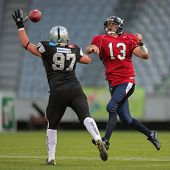 INNSBRUCK, AUSTRIA - JUNE 16 QB Marko Glavic (#13 Broncos) passes the ball on June 16, 2012 in Innsb