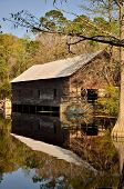 Old covered bridge and grist mill