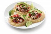 tostadas de ceviche, comida mexicana