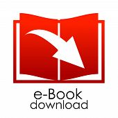 Vector red e-book emblem
