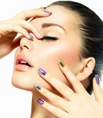 Beautiful Fashion Girl's Face. Makeup. Make-up and Manicure. Nail Polish. Beauty Skin and Nails. Bea