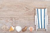 Deckchair And Sea Shells On Wood