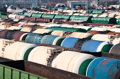 picture of railroad yard  - Railway tanks for mineral oil and other cargoes at shunting yard - JPG