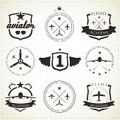 Set of vintage aviation labels - black