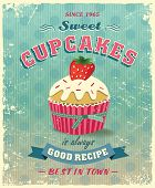 illustration of vintage cupcakes sign