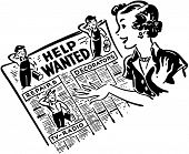 Gal Reading Help Wanted anuncios - Retro Clip Art ilustración