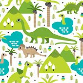 Seamless baby dinosaur animal illustration background pattern in vector
