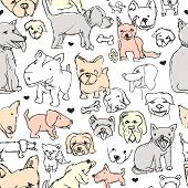 Seamless dog breeds illustration sketch hand drawn background pattern in vector