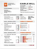 Cable Service Phone Bill Document Sample, Document Template Vector