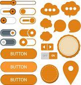 Vector illustration of orange plain web elements. Flat UI.