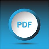 Pdf. Plastic button. Raster illustration.