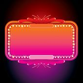 Illustration of Pink Retro Marquee. Illuminated Sign or Billboard.