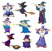 picture of witchcraft  - Illustration of a group of wizards on a white background - JPG
