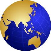 image of cartographer  - Map of the Asia on a spherical globe cartographical illustration - JPG