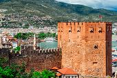 View Of The Kizil Kule (red Tower) Is A Historical Tower In The Turkish City Of Alanya