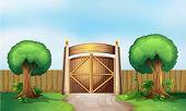 Illustration of a gated park