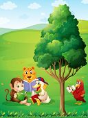 Illustration of the animals reading under the tree at the hilltop