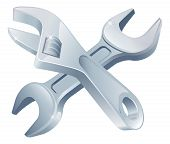 image of adjustable-spanner  - Crossed spanners tools icon of cartoon tools crossed construction or DIY or service concept - JPG