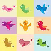Set Of Vector Bird Icons
