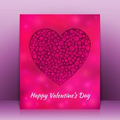 Valentine's Day greeting card with blurred heart. Vector background